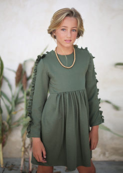 Ochuss Moda Infantil 2017 Vestido Libélula Verde