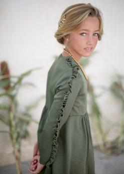 Ochuss Moda Infantil 2017 Vestido Libélula Verde Arras